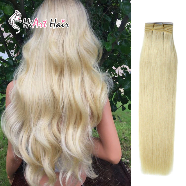 """HiArt 100g Weft Hair Extensions In Real Human Remy Hair Salon Double Drawn Blonde Bundle Weaves Hair Straight Factory 18"""" 22"""""""