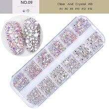 2 renk 12 ızgara 1440 adet AB kristal düz geri rhinestone elmas mücevher 3D glitter nail art dekorasyon çivi için aksesuarları