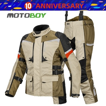 Free shipping 1set Men's 600D Oxford Waterproof Off-road Riding Windproof Winter Warm Lining Coat Motorcycle Jacket and Pants