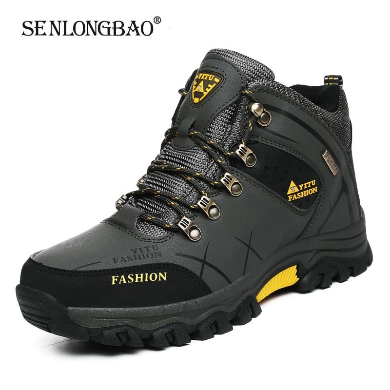 Брендовые мужские зимние ботинки, водонепроницаемые кожаные кроссовки, очень теплые мужские ботинки, уличные мужские походные ботинки, Рабочая обувь, размеры 39 47|Зимние сапоги| | АлиЭкспресс