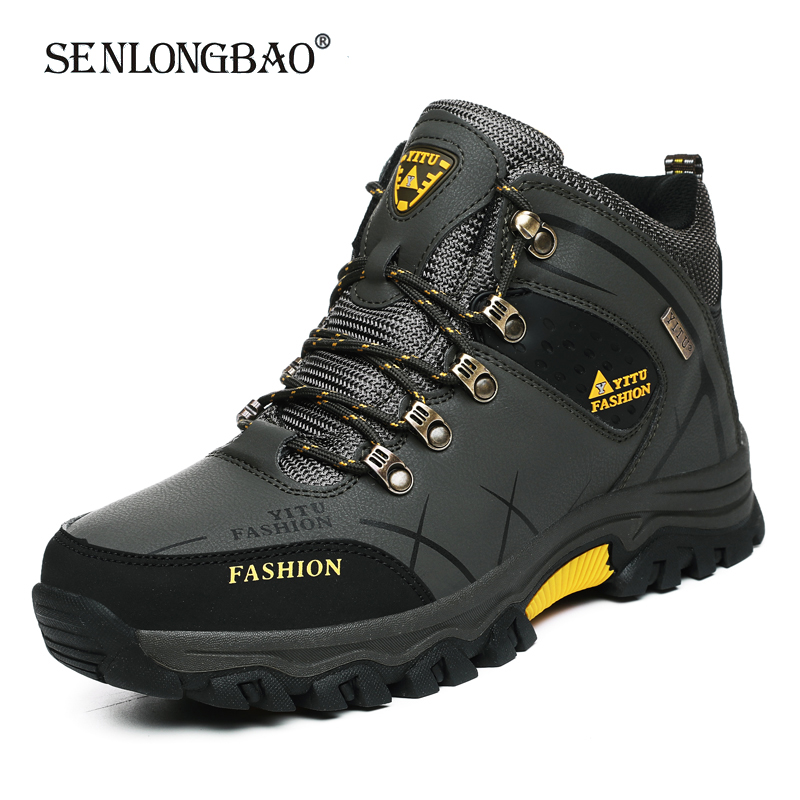 Брендовые мужские зимние ботинки, Водонепроницаемые кожаные кроссовки, супер теплые мужские ботинки, уличные мужские походные ботинки, раб...