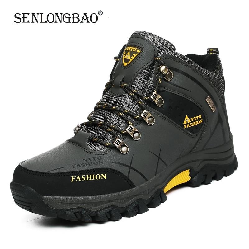 Brand Men Winter Snow Boots Waterproof Leather Sneakers Super  Warm Men