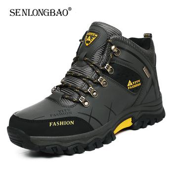 Marka mężczyźni zimowe buty śniegowe wodoodporne skórzane trampki Super ciepłe męskie buty Outdoor męskie buty trekingowe obuwie robocze rozmiar 39-47 tanie i dobre opinie SENLONGBAO Buty śniegu CN (pochodzenie) Skóra Split ANKLE Stałe Dla dorosłych Krótki pluszowe Okrągły nosek RUBBER