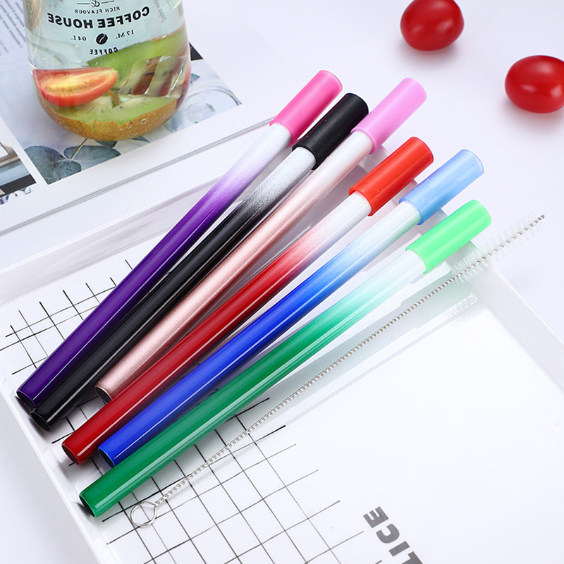 9Pcs/Set Reusable Metal Straw 304 Stainless Steel Drinking Straw Silicone Cover Tips With Cleaner Brush Bag Wholesale