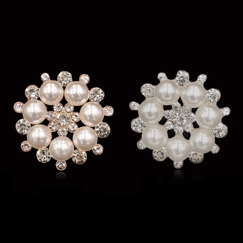 10 Stks/set Diy Sneeuw Bloem Pearl Button Lichtmetalen Diamante Crystal Bow Bruiloft Decoratie Naaien Decor Haaraccessoires
