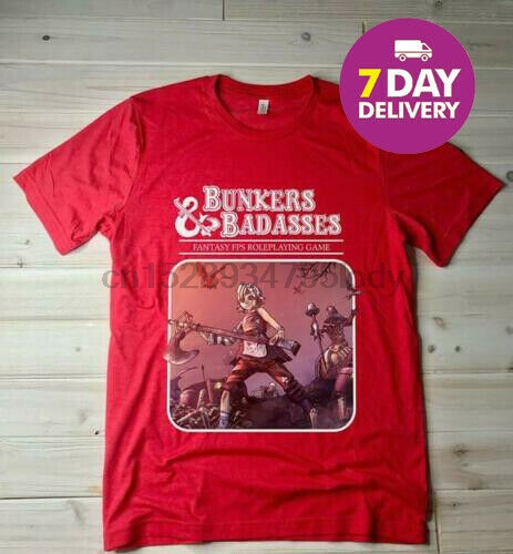 Tiny Tina Assault Dragons Keep Borderlands 2 T-shirt BUNKERS  BADASSES T-shirt