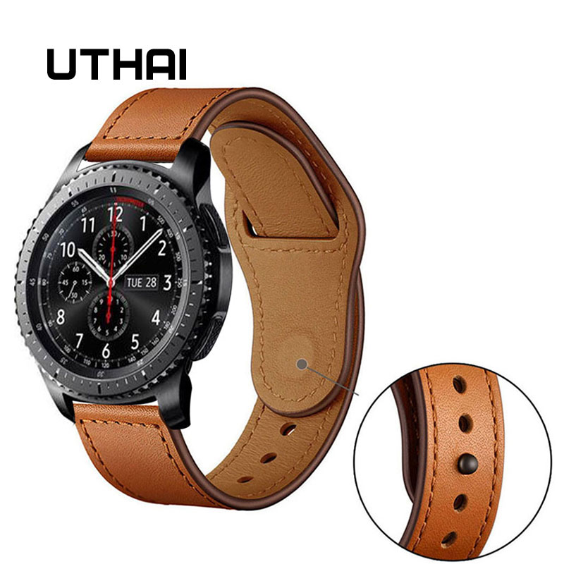 UTHAI Genuine leather Watchbands,20MM 22MM Quick Release strap,For Samsung Galaxy Watch Active 2 Gear S2 3 Watch accessories Z36 image