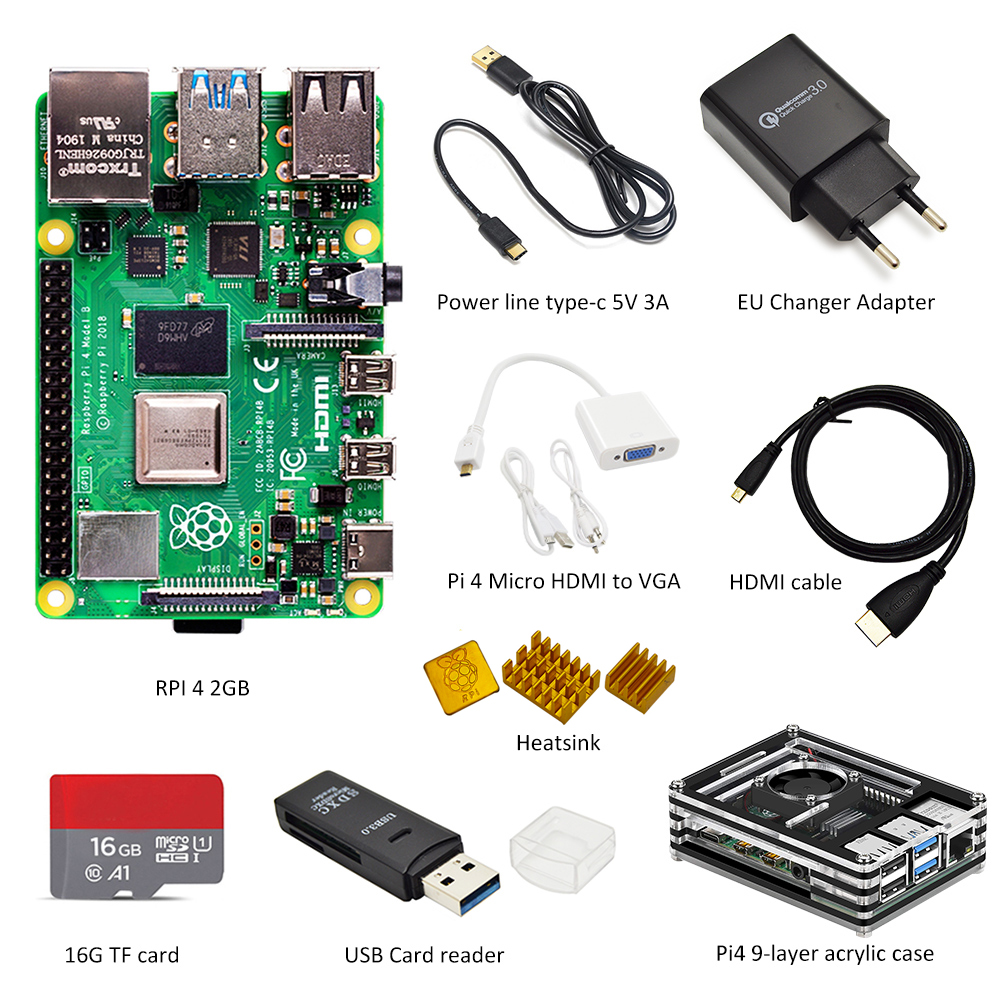 Latest Raspberry Pi 4 Model B 2GB RAM Complete Kit:case + EU Power Adapter + Switch Line + 16GB TF Card+Micro Hdmi-vga Adapter