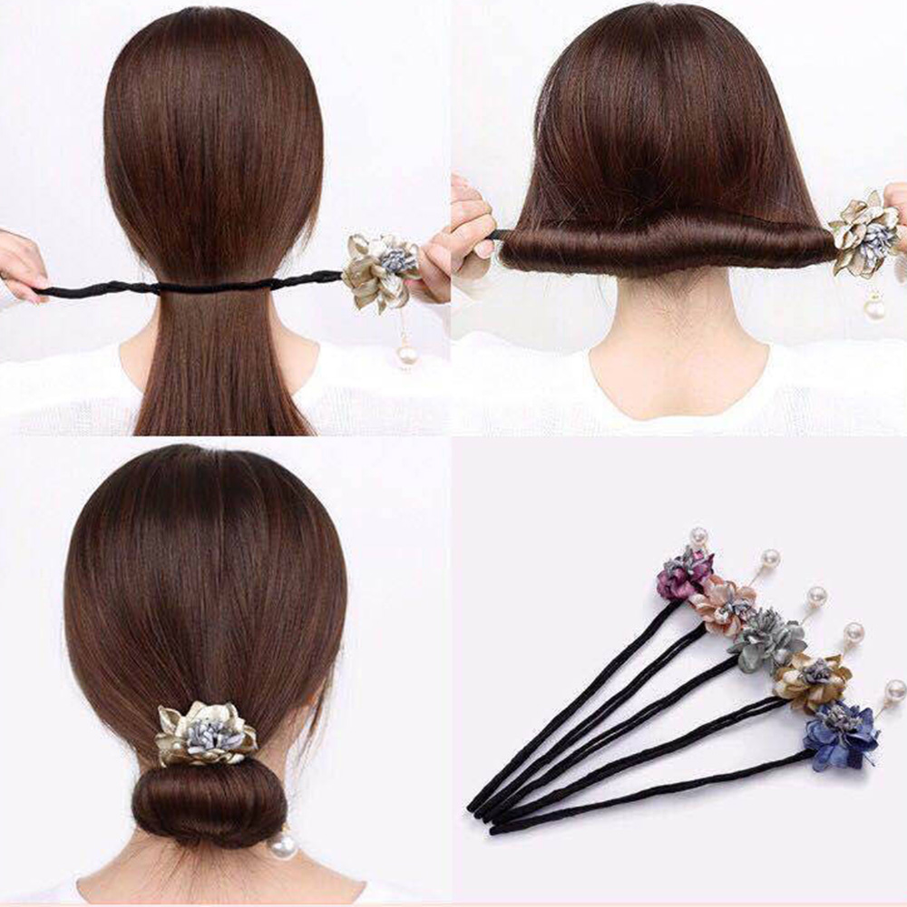 1PC Women Flower Donuts Twist Headband Magic Bun Maker Girl  Sweet Girls Floral Hair Accessories Hairband DIY Hairstyle Tool