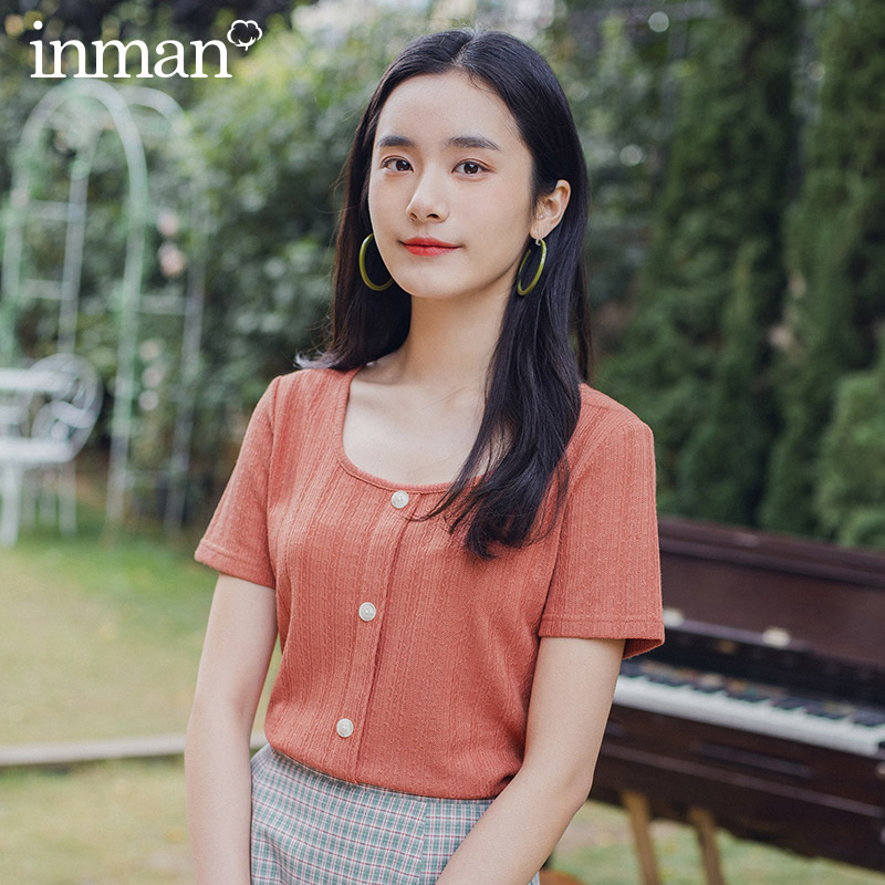 INMAN Retro Style 2020 Summer New Arrival Square-cut Collar Single-breasted Jacquard Weave Short Sleeve T-shirt