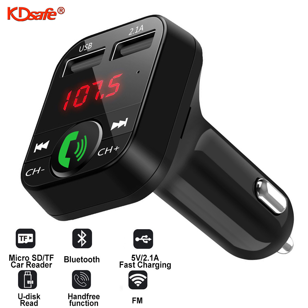 KDsafe Bluetooth Wireless Car kit Handfree LCD FM Transmitter Dual USB Car Charger 2.1A MP3 Music TF Card U disk AUX Player 1