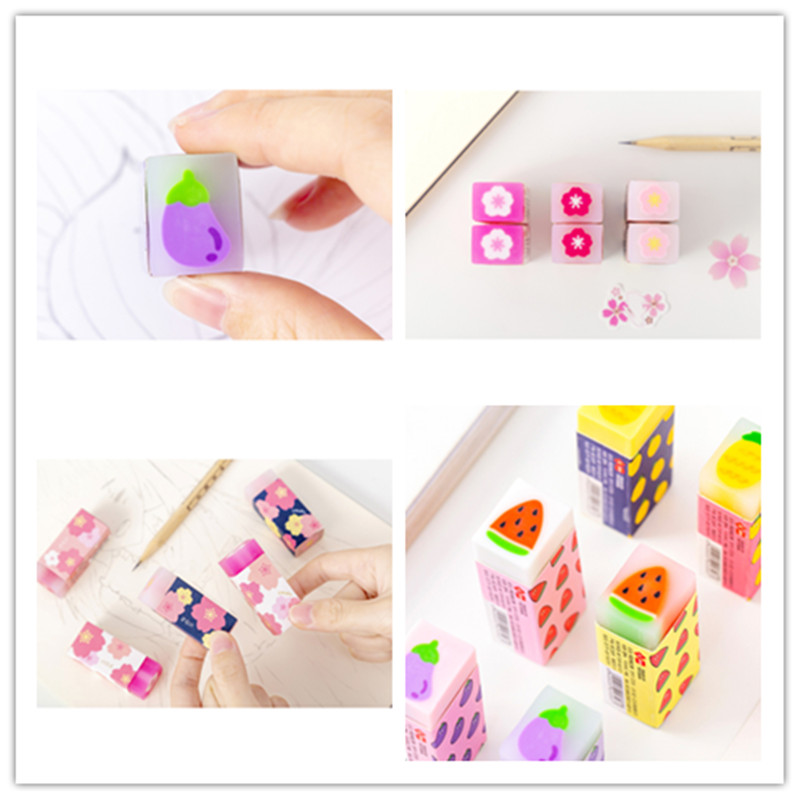 1pcs/set Creative Cute Cherry Blossom And Fresh Fruit Erasers For Kids Kawaii Stationery Gift For Kids School Office Suppiles