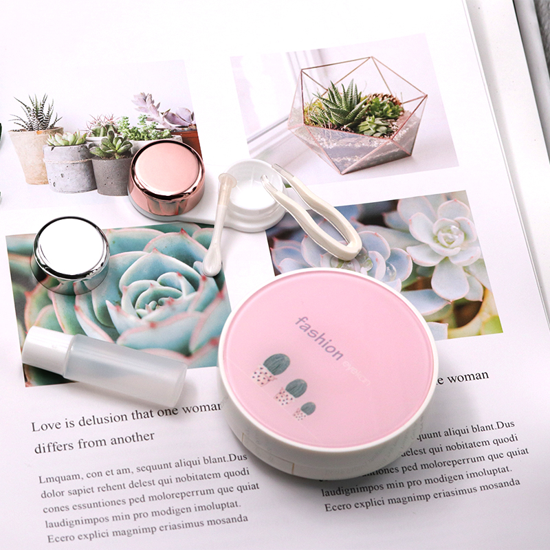 Image 5 - Pink Contact Lens Case  Women Man Unisex Contact Lenses Case For Eyes Care Kit Holder Container Glasses Contact Lenses BoxEyewear Accessories   -