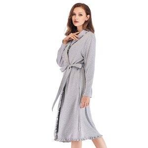 Image 4 - Tasarım Kadın Pijama Zarif Kimono Robe Bayanlar Kış Sonbahar Rahat Bornoz Gevşek Fırfır Katı Banyo Spa Elbiseler Kadınlar Için