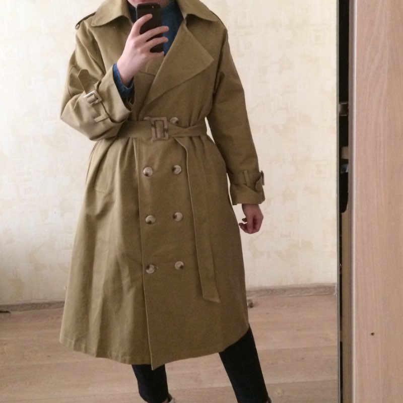 جديد 2021 النمط الكوري فضفاض المرأة طويلة خندق ملابس خارجية الإناث vintage القطن الخالص سترة واقية معطف