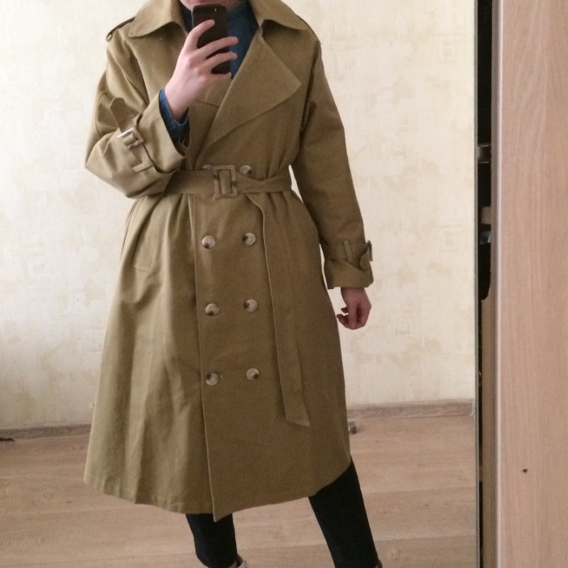 Women s Double Breasted Cotton Trench Coat With Belt Classical Lapel Collar Loose Long Windbreaker Female