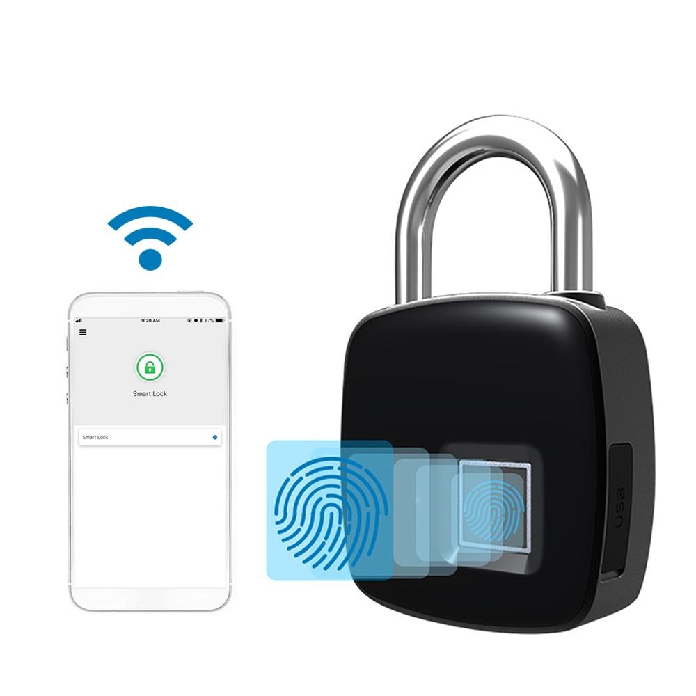 Smart Keyless Door Lock Bluetooth Wireless APP Unlock Fingerprint Lock Security Padlock Support 40 Fingerpints Luggage Case Lock