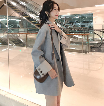 цена Casual Vintage Ladies Blazer Loose Solid Gray Simple Suit Jacket Blazer Femme Hiver Stylish Korean Women Blazer Spring MM60NXZ онлайн в 2017 году