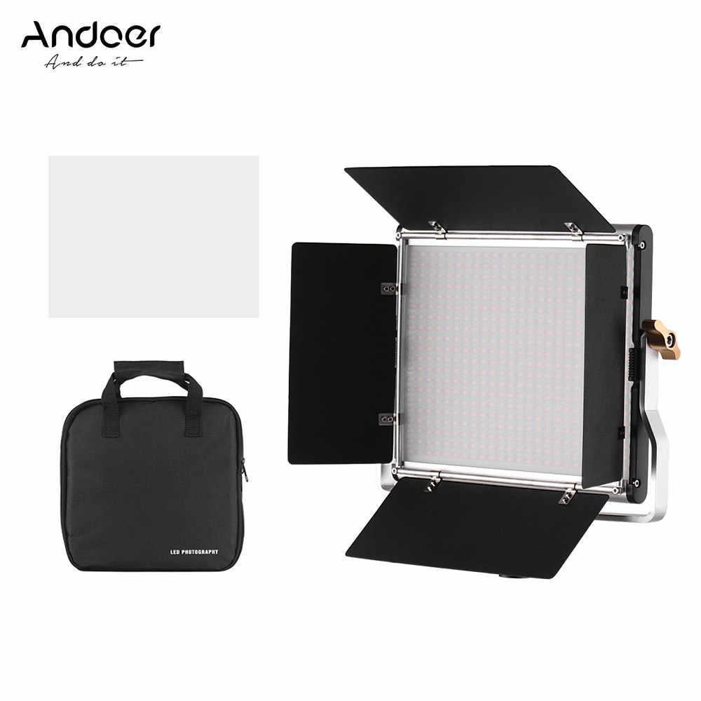 Andoer Dimmable Bi-Color LED with Light Stand Holder Bracket for Studio Photography Video Shooting Lighting Kit CRI 95 3200-5600K 480 LED Beads with Storage Bag