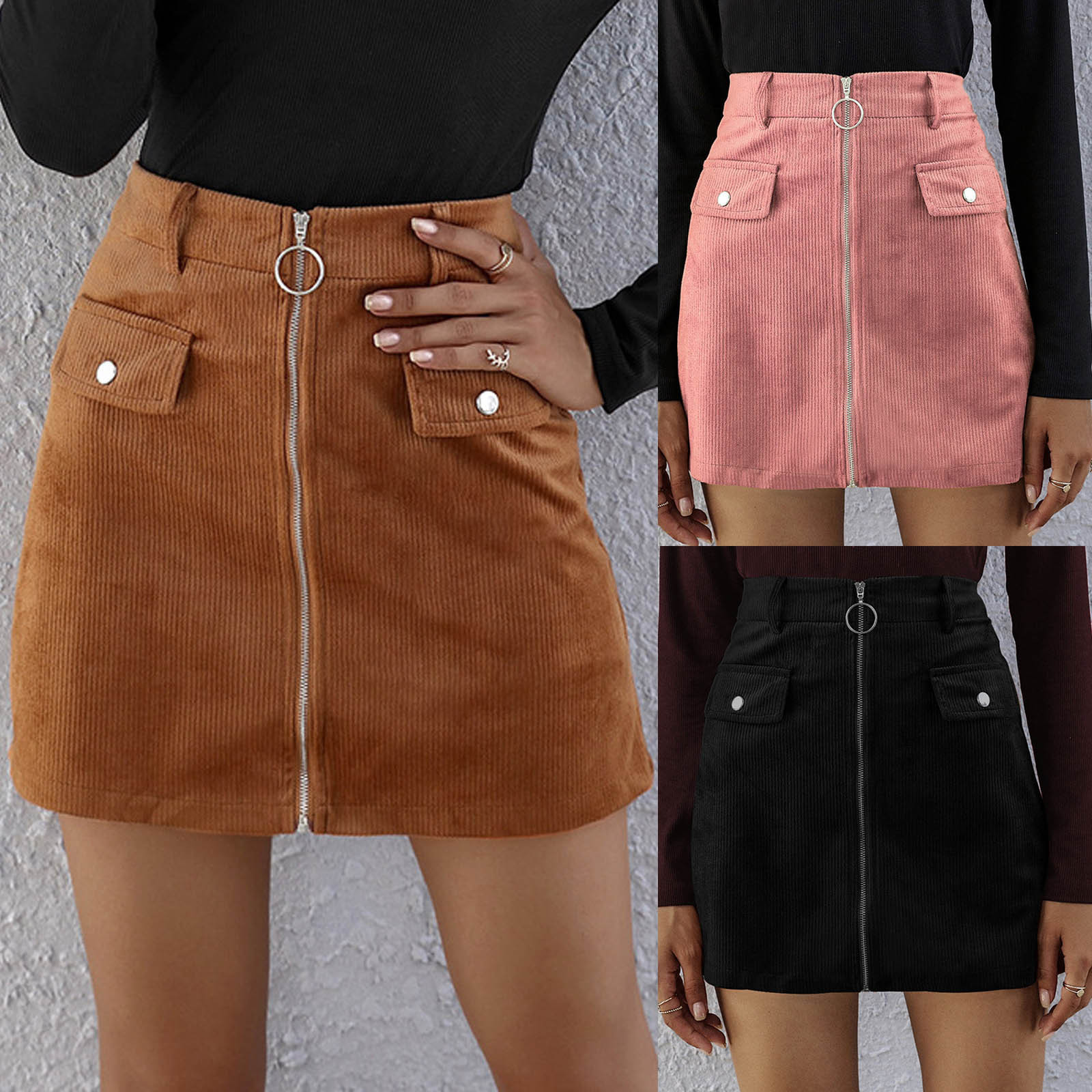High waist solid color zipper corduroy casual short skirt skirt Women  Corduroy Zipper High Waist Skirt Short Mini Skirt 2021
