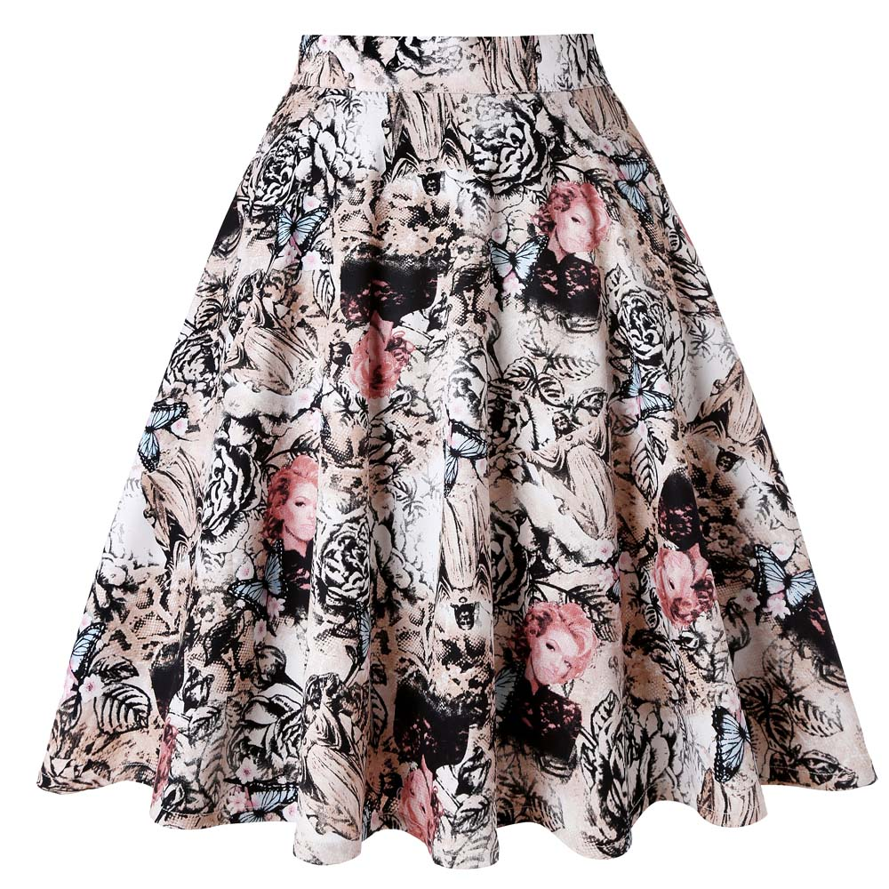 Knee Length Summer Skater Skirt Runway Vintage Rockabilly Skirts Womens 2020 Sexy Pinup 50S 60S Cotton Skirts Plus Size