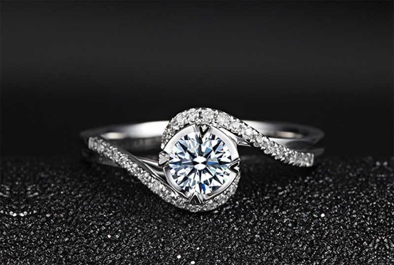 Mają certyfikat 1 Carat 925 srebrny cyrkonia diament pierścień krzyż przecinają projekt kobiety Wedding Party pierścionek zaręczynowy pierścionek jubileuszowy