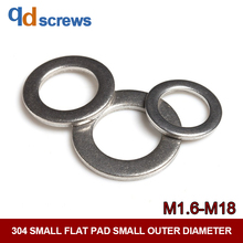 304 M1.6-M18 Stainless Steel Small Flat Pad Outer Diameter Narrow Side Washer GB848 DIN433