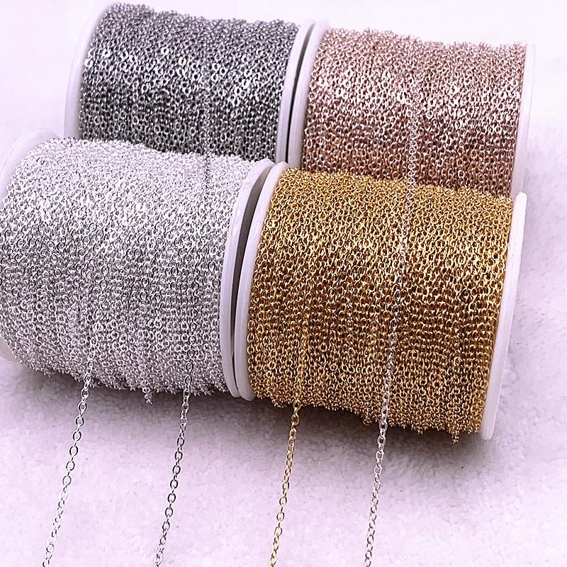 5 ярдов Золотая/Серебряная/бронзовая позолоченная цепочка для изготовления ювелирных изделий своими руками цепочки для ожерелья материалы...