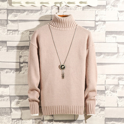 High Collar Sweater Men Warm Fashion Solid Color Casual Knit Pullover Men Streetwear Loose Long Sleeve Weter Male Clothes M-3XL