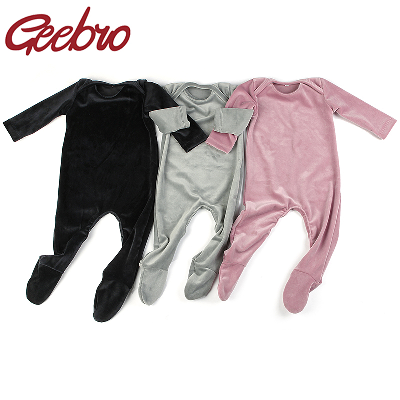 Geebro Newborn Boys Girls Long Sleeves Jumpsuits Soft Warm Velvet Stretches Footies Beanie Baby Romper Bodysuits Outfits Clothes