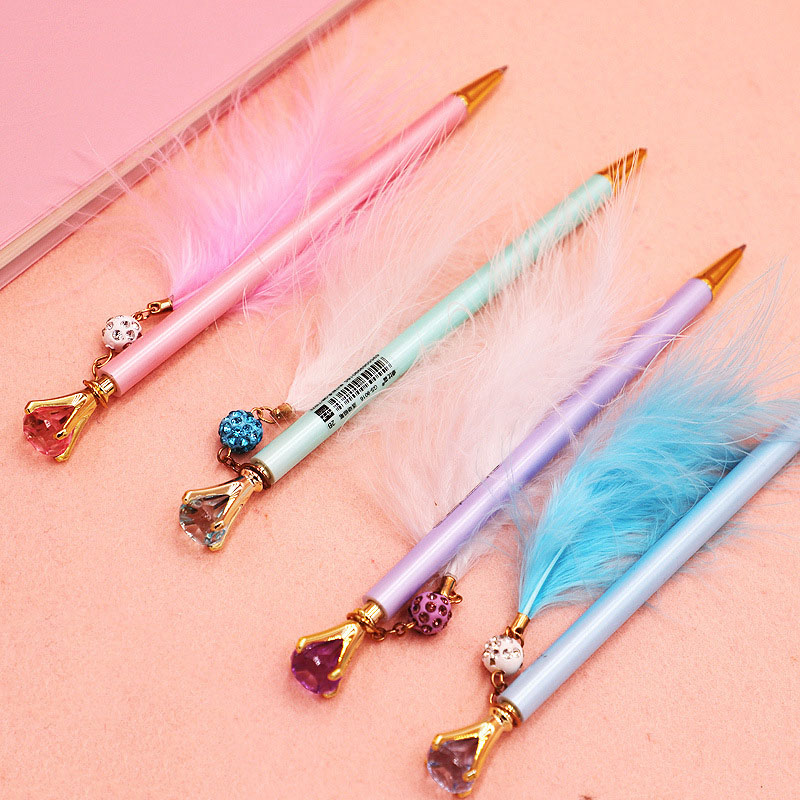 0.5/0.7mm Cute Diamond Feather Mechanical Pencil Kawaii Pendant Automatic Pencil For Kids Girls Gifts School Supplies Stationery