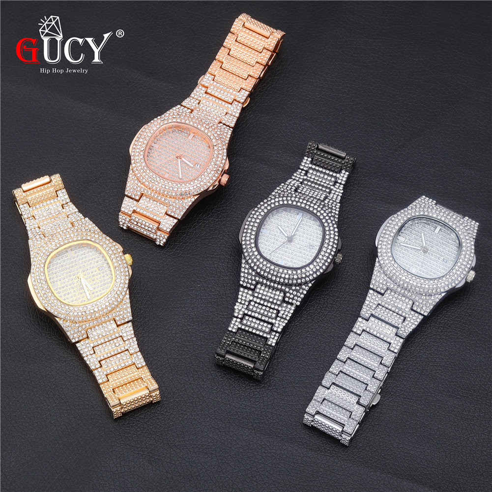 GUCY Brand Iced Out Diamond Watch Quartz Gold HIP HOP Watches With Micropave CZ Stainless Steel Watch Clock Relogio