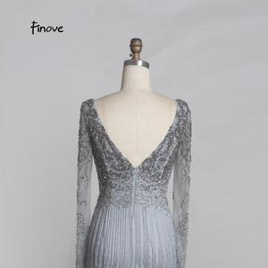 Image 5 - Finove Luxury Beaded Evening Dresses 2020 New Sexy Deep V neck Backless Stunning Tassels Floor Length Long Party Dresses Gowns