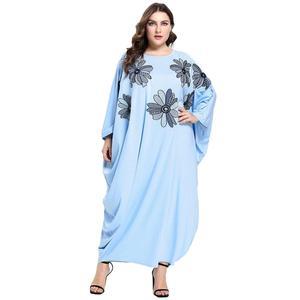 Женское платье с цветочной вышивкой, макси-платье с рукавом «летучая мышь» размера плюс, платье Eid, Рамадана, кафтан, мусульманская одежда, ...