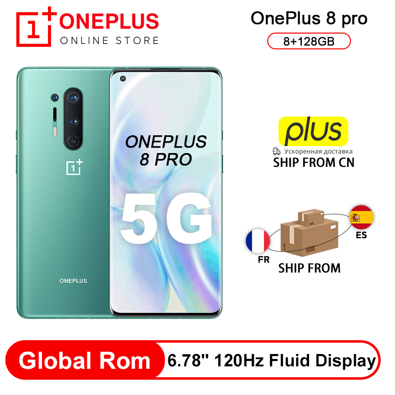 Global Rom Oneplus 8 Pro 5G Smartphone Snapdragon 865 8G 128G 6.87'' 120Hz Fluid Display 48MP Quad 513PPI 30W Wireless Charging(China)