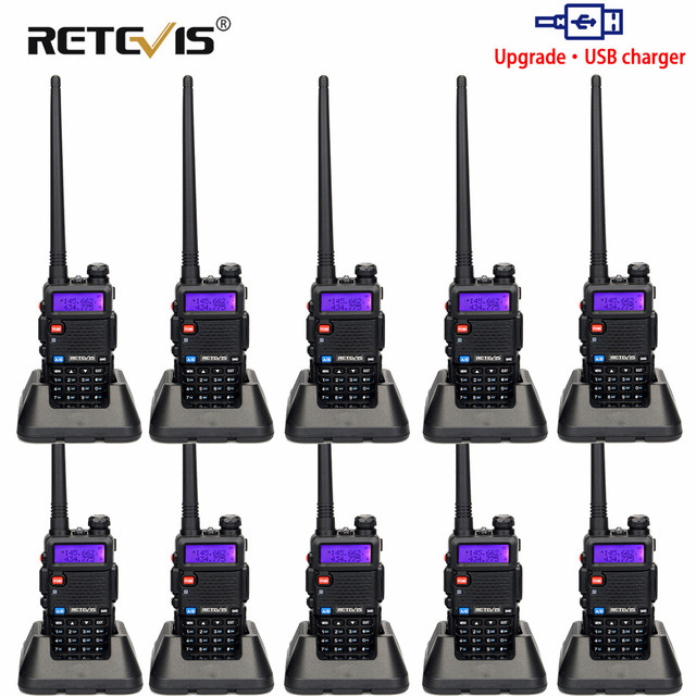 RETEVIS RT5R اسلكية تخاطب USB VHF UHF ثنائي النطاق هام راديو FM 10 قطعة اتجاهين راديو التواصل ل Baofeng UV 5R UV5R RT 5R