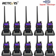 RETEVIS RT5R Walkie Talkie USB VHF UHF dwuzakresowy Ham Radio FM 10 sztuk dwukierunkowy radiotelefon dla Baofeng UV 5R UV5R RT 5R