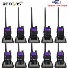 Retevis rt5r walkie talkie usb vhf uhf banda dupla rádio ham fm 10pcs rádio em dois sentidos comunicador para baofeng UV 5R uv5r RT 5R