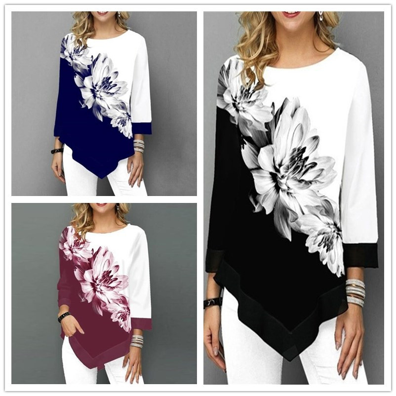 2019 Spring Autumn Large Size Women T Shirts Casual O-Neck Floral Print T Shirt Female T Shirt Plus Size 5XL Pullovers Tops Tees