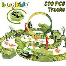 Burgkidz 390 pçs dinossauro conjunto ferroviário brinquedo carro pista blocos de construção flexível corrida carro trilha mágica carro brinquedos para meninos 4 anos presente