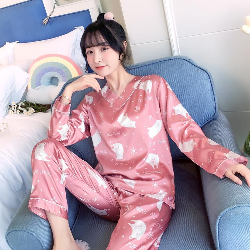 Pajamas For Women 2019 Autumn Cute Print Long Sleeve Silk V-neck Sleepwear Set New Lonxu Silk Pajamas Sets Young Girl