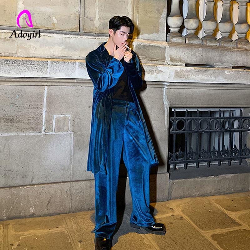 Men 2PCS Sets (trench+pant) Male Women Vintage Velvet Streetwear Long Sleeve Loose Casual Shirt Coat Cardigan Overcoat Outfits