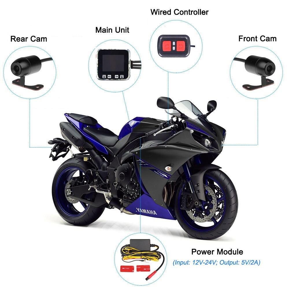 Wifi motorcycle dvr 1080P moto dash cam 140° motorbike dual view camera 2