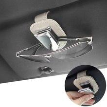 Sunglasses Clips Case Auto-Sun-Visor Interior Automotive-Goods Universal Genuine-Leather