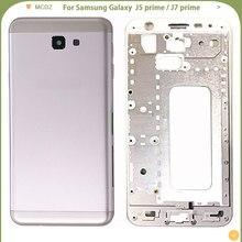 Cubierta de batería para Samsung Galaxy J5 prime / J7 prime, carcasa completa, puerta trasera de bisel medio + marco medio