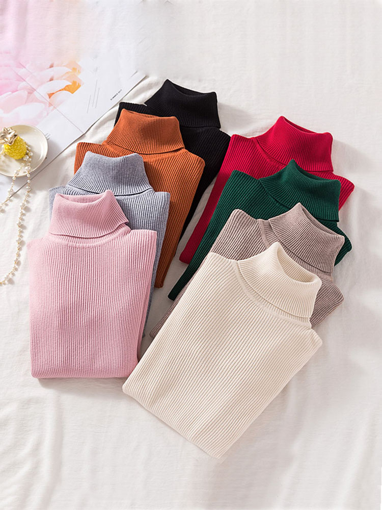 Tight Sweater Shirt Pullovers Primer Turtleneck Long-Sleeve Soft Autumn Korean Winter