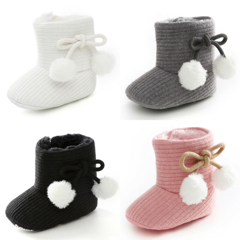Baby Girl Boys Boots Warm Winter Shoes Solid Fashion Toddler First Walkers Bow Toddler Kids Non-slip Shoes Boys Girls Boots