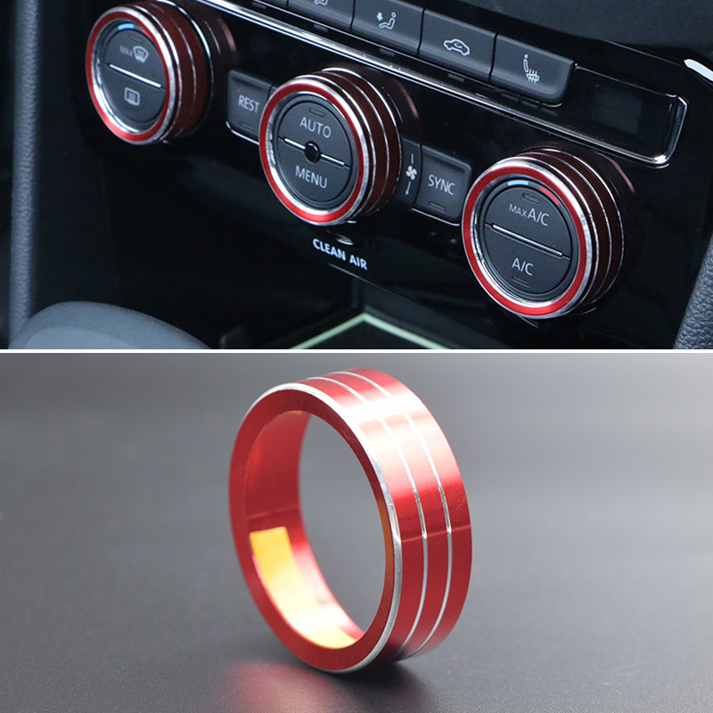 Hivotd For VW Tiguan mk2 2019 Accessory Aluminium alloy Central ControL Air Conditioning Volume Knob Ring Cover Trim Car styling in Automotive Interior Stickers from Automobiles Motorcycles