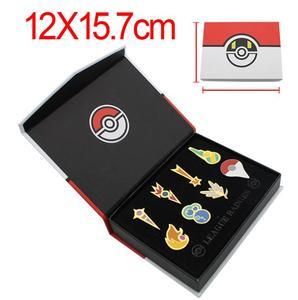 Значки Pokemon Gym Kanto Johto Hoenn Sinnoh Unova Kalos, булавки в Лиге, броши, подарочный набор с оранжевыми островками