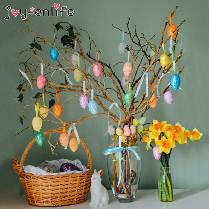 6pcs Colorful Easter Tree Decoration Eggs Pendant Plastic Hanging Easter Eggs Easter Decorations For Home Table Mixed Color Egg